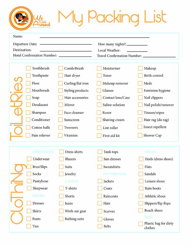 We Sleep Around Packing List We Sleep Around – Vacation Packing Checklist
